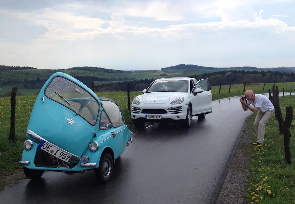 Porsche Kommunikations-Chef Thomas Becki fuhr unsere Heinkel Kabine
